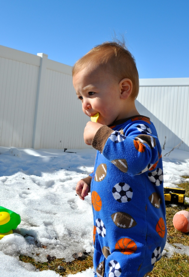 Blake eating the snow